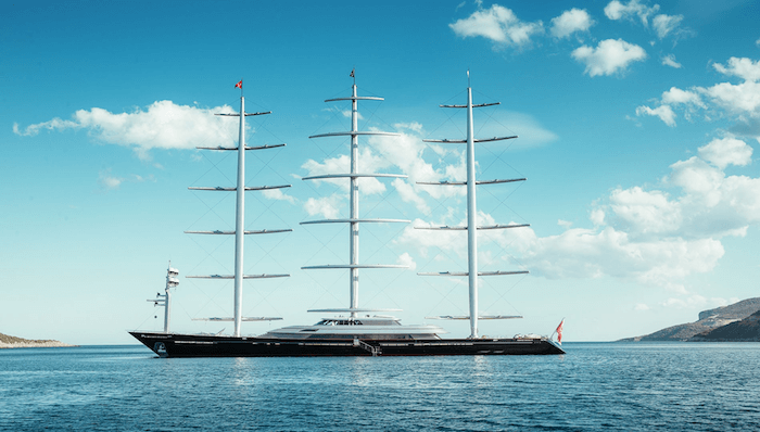Maltese Falcon Yacht Sails Down