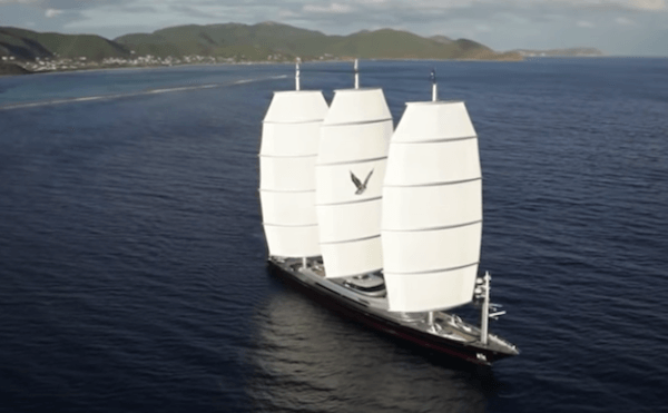 Maltese Falcon Yacht Sails Up
